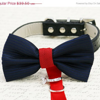 Navy Red Dog Bow Tie, Dog ring bearer, Pet Wedding accessory, Pet lovers, Navy and Red bow attached to black dog collar