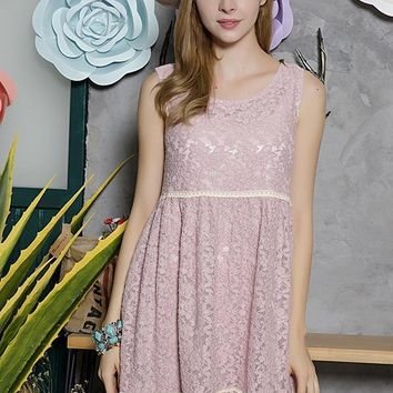 Lace Tunic Dress - Mauve