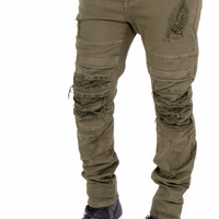 Flex Stretch Distressed Layered Denim Jeans (Olive) by Smoke Rise