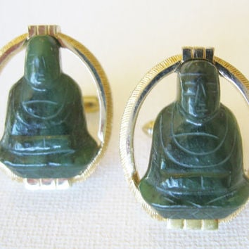 Large Vintage Swank Carved Jade Buddha Cufflinks Vintage Men's Fashion Accessory Vintage Green Jade Cufflinks