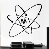 Vinyl Decal Atom Electron Science Chemistry Nuclear Physics Decor Wall Sticker Unique Gift (z1239)