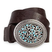 pant belt with turquoise stone buckle - debshops.com