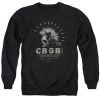 CBGB/ELECTRIC SKULL - ADULT CREWNECK SWEATSHIRT - BLACK -