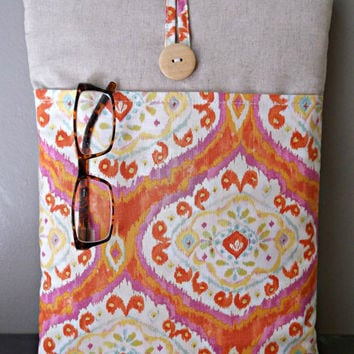"Linen Macbook Pro Case, Ladies 13 "" inch Sleeve, Orange Laptop Bag Womens Mac Book Cover, Tablet Pocket, Padded ikat  Damask Fucshia Natural"