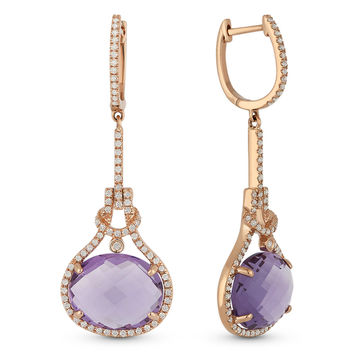 8.42ct Oval Cut Amethyst & Round Diamond Halo Dangling Earrings in 14k Rose Gold