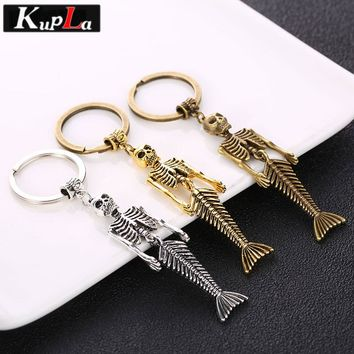 Kupla Vintage Metal Mermaid Keychain Fashion Accessories Car Keychains Classic Design Skull Mermaid Charms Key Chains