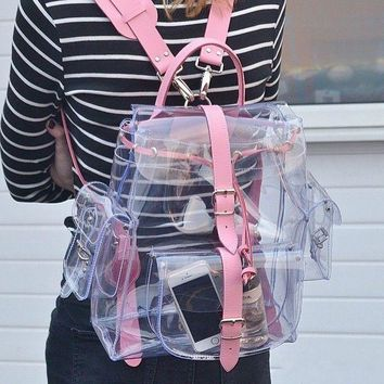 2016 harajyuku cute Clear Plastic See Through Transparent Backpack women girl student travel Bag satchel PVC School Book bag