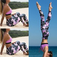 Women Camouflage Sports Yoga Workout Gym Fitness Exercise Athletic Pants