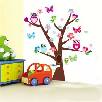 wise owls butterflies on colorful tree wall stickers for kids rooms 1006 decorative Nursery Home Decor pvc  wall decal