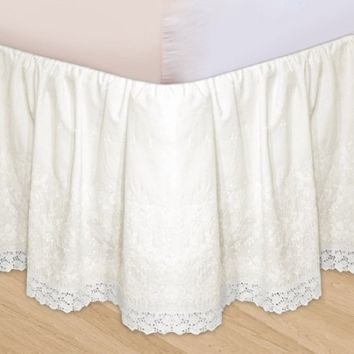HUYS-EMBROIDERY HUYS BED RUFFLE - IVORY, King
