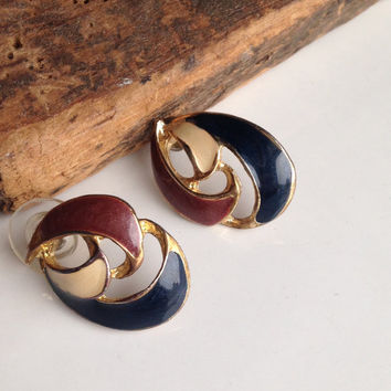 Vintage Earrings, Enamel Earrings, Post Earrings, Multi Colored Earrings, 80's Earrings, 1980's Earrings