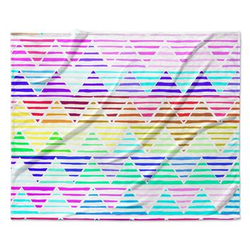 "Sreetama Ray ""Stripes Cushion"" Rainbow Chevron Fleece Throw Blanket"