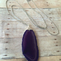 Purple Agate Slice Layering Necklace Purple Agate Slice Statement Necklace Wire Wrapped Purple Agate Slice Boho Style Necklace (N111)