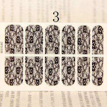 One Sheet Flowers Lace Nail Art Sticker