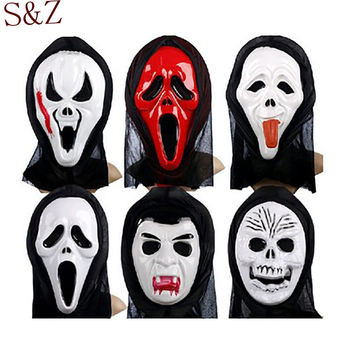 2016 New High Quality PVC Plastic Halloween Mask Masquerade Latex Party Dress Skull Ghost Scary Scream Mask Face Hood