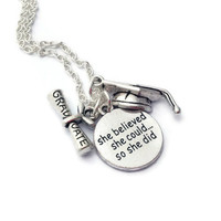 Graduation Necklace, She Believed She Could So She Did, Favors for Graduates, Inspirational Gifts, Graduate Jewellery, Sister Exam Present