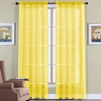 "WPM 2 Piece Beautiful Sheer Window Elegance Curtains/drape/panels/treatment 60""w X 84""l (Bright Yellow)"