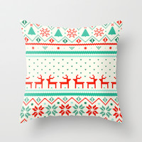 Festive Fair Isle Throw Pillow by Tracie Andrews