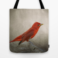 Song of the Summer Tanager 2 - Birds Tote Bag by Jai Johnson