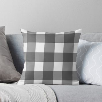 'Basic Grey White Gingham Design' Throw Pillow by Sheila Wenzel Ganny