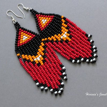 Red Earrings, Beaded Earrings, Beadwoven Earrings, Dangle Earrings, Native American Style, Statement Earrings, Boho Earrings