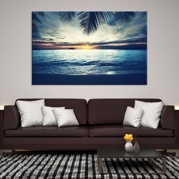 58023 - Sunset on Calm Sea and Palm Tree Leaves Wall Art Canvas Print