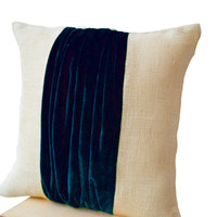 Pillow covers -Color Block Pillow -Burlap Color Block Pillow -Navy Blue Velvet Color Block Cushion -Decorative Throw Pillows -24x24 -Gift