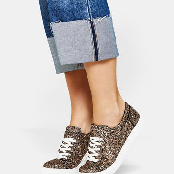 Glittery lace-up sneakers - SHOES - Bershka United Kingdom
