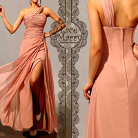 Single Shoulder Blush Pink Greek Style Long Chiffon Dress - Floor Length Chiffon Bridesmaid Dress - Greek Goddess Style Chiffon Dresses