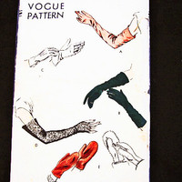 Vintage 1940s Vogue Womens Glove Pattern, above elbow evening length long gloves, fingerless gloves, mittens old sewing pattern