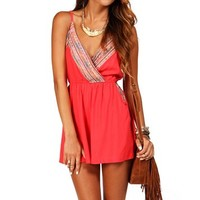 Tomato Ethnic Embroidered Romper