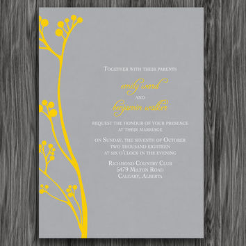 Printable Wedding Invitation - Yellow and Grey Flowers