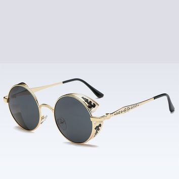 Polarized Goth Retro Steampunk Round Sunglasses