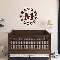 Monogram Paw Print with Name Wall Decal - Puppy Paw Print Wall Decals - Monogram Initial Decals - Nursery Decal  -  Name Wall Decal 22544