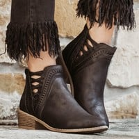 Black Leather Lace-Up Booties