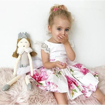 2-7Year Floral Toddler Kids Baby Girls Lace Flower Dress Sundress Party Dresses