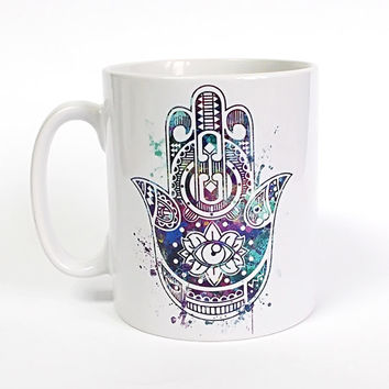 Blue Hamsa Hand Mug Hamsa Hand Cup Watercolor Art Zen Coffee Mug Protective Hand Tea Mug Birthday Gift Coffee Cup Hamsa Hand Tea Cup Gift