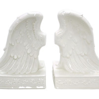 Wing Bookends Set, White, Bookends