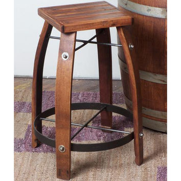 "26"" Stave Stool w/ Wood Seat (Made from Wine Barrels)"