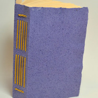 Puple Handmade Paper Cover Journal, Travel Journal, To Do List, Skectchbook, Yellow Linen Thread, Historic Longstitch Binding