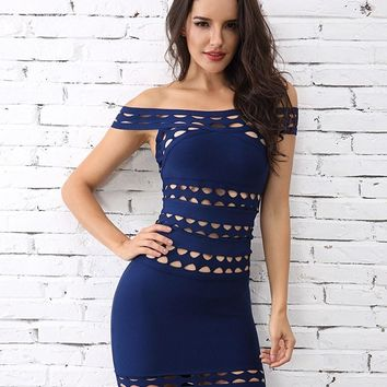 Off Shoulder Navy Blue Scallop Bandage Dress