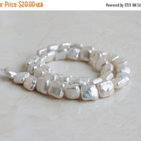 51% Off Freshwater Pearl Chiclet Square Baroque White 9.5mm 18 beads 1/2 strand