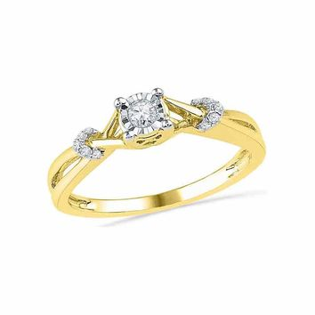 10kt Yellow Gold Womens Round Diamond Solitaire Twist Promise Bridal Ring 1/10 Cttw