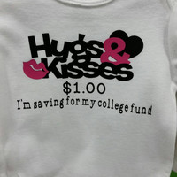Personalized Infant body suit, Onesuit, baby shirt, hugs and kisses, college fund, Be My Valentine, Kids T-Shirt, My First New Year, Easter