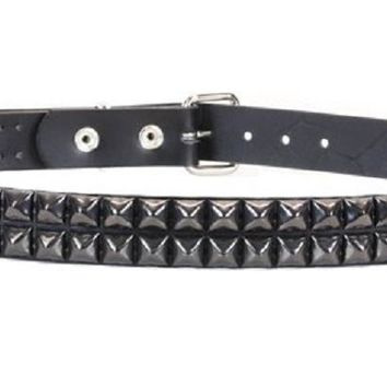 "2-Row Black Pyramid Stud Black Leather Belt 1-1/4"" Wide"