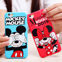 Cover For Apple iPhone 6 6G 6S Plus Case Silicone Soft Mickey Minnie Daisy Mouse Donald Duck Mobile Love Heart Phone Cases