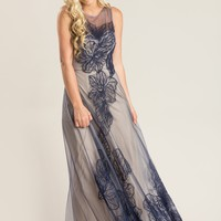 Kacey Navy Lace Tulle Maxi Dress