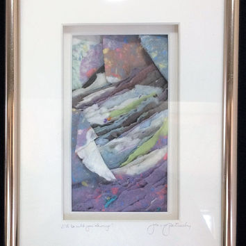 Jeanne Petrosky Layered Hand Made Paper Framed Art 7x10 I'll Be With You Always Home Interior Design One of a Kind 418