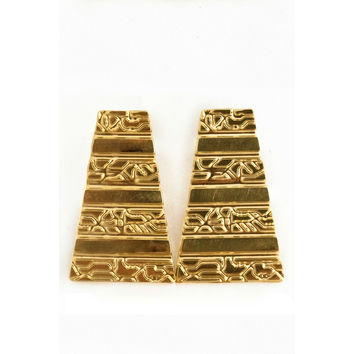 Large Pyramid Earrings- Gold