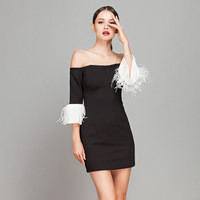 Off Shoulder Ostrich Feather Flare Sleeve Mini Dress